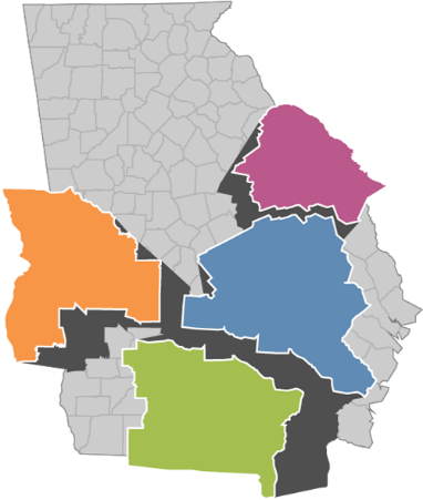 State map of Georgia highlighting four regions: River Valley, Central Savannah River Area, Heart of Georgia Altamaha, and Southern Georgia