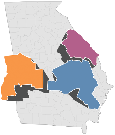 State map of Georgia highlighting three regions: River Valley, Central Savannah River Area, and Heart of Georgia Altamaha